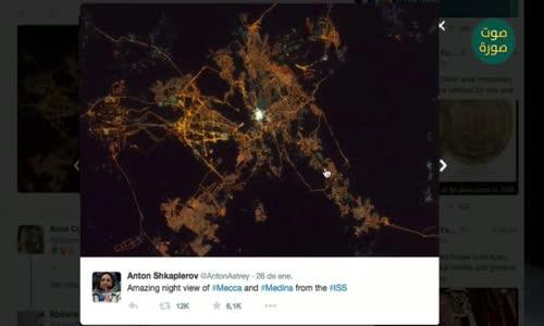 رائد فضاء ينشر صوراً لمكة والمسجد النبوي وهما يشعان ليلا !