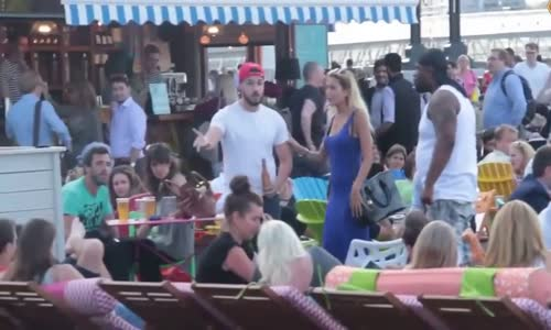 Big Dude Gets Bottled In The Face For Hitting On Another Guy's Wife