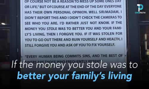 Muslim Coffee Shop Owner Displays a Message of Forgiveness to Robber Who Broke Into His Store