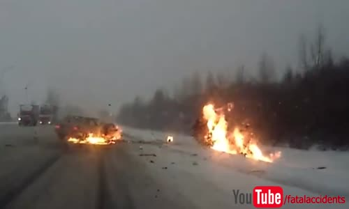 Car bursts into flames after terrible accident