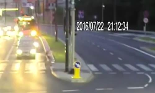Lucky cyclist saved by car crash