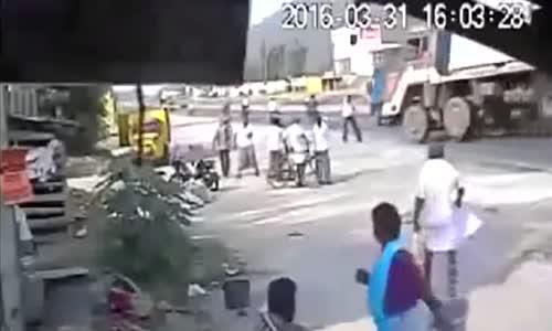 A truck overturned killing several bystanders