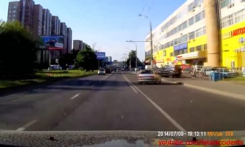Biker Slams into Back of Car - Bike is Totally Ruined