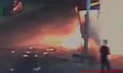 Reckless Driver Slams into Gas Pump and Just Keeps on Going