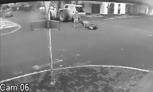 Female scooter driver hit by loader