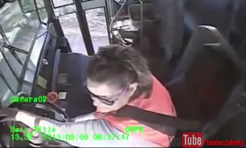 Bus Driver Falls Out Of Her Seat