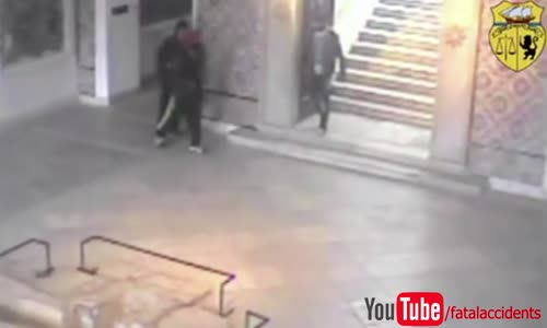 Tunisia Bardo museum attack_ CCTV shows moment tourist bumps into gunmen