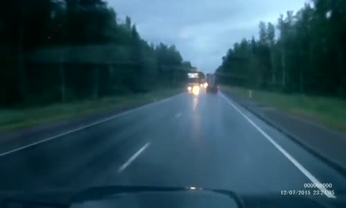 Motorcyclist goes head-on with a truck