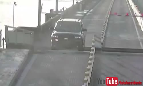 Driver Jumps Opening Drawbridge