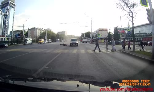 Hard Hitting Motorcycle Accident in Russia