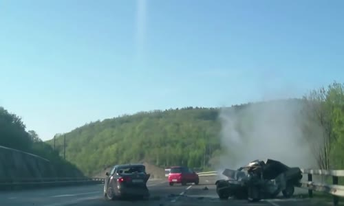 Jetta spins out of control and whacks Lada