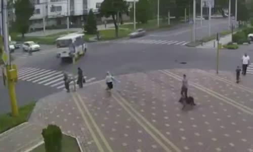 Near Miss for Some Lucky Pedestrians