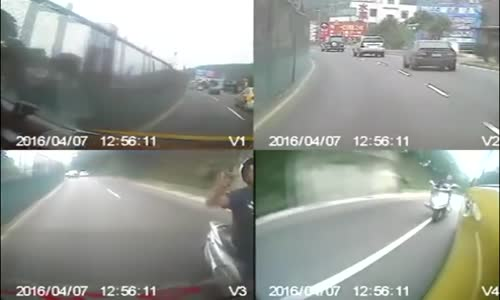 Armed man on scooter meets sweet justice