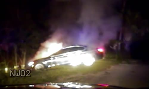 Car fire rescue captured by deputy's dash cam