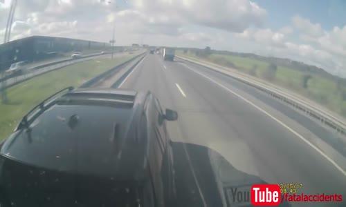 Insane BMW driver vs truck