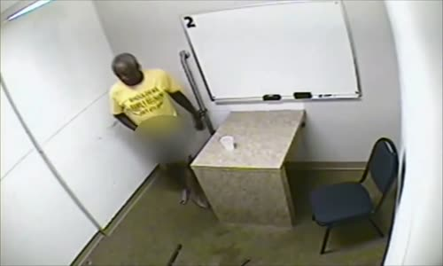 Crazy Old Man Urinates On Floor In Interrogation Room