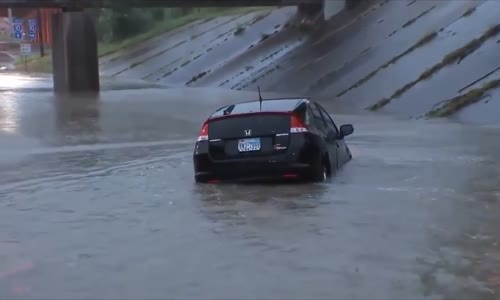 Driver rows his Prius gently down the stream