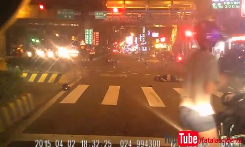 Car plows through a bunch of scooters