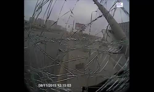 Bus driver has fallen asleep at the wheel