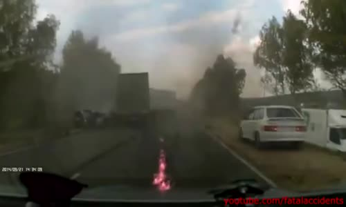 Russian Man Burned to Death in a Head-on Truck Crash