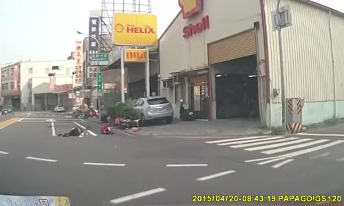 Scooter rider has nasty collision with cyclist