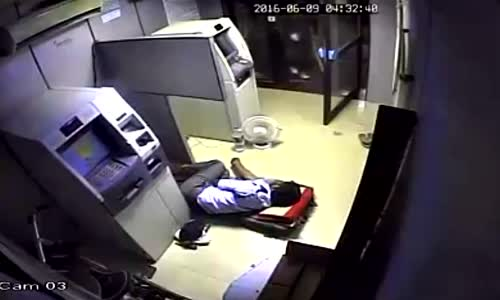 ATM guard beaten with stick (alternate angle)