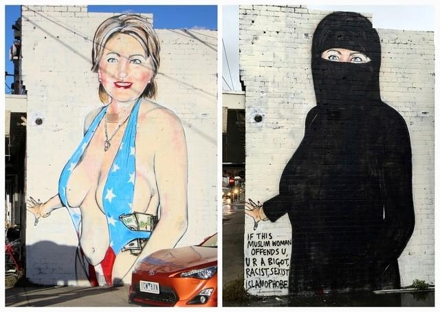 الصورة لهيلاري كلينتون على جدار في ملبورن، أستراليا بلباس فاضح وبالحجاب
