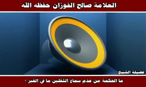 الحكمة من عدم سماع الثقلين ما في القبر - الشيخ صالح الفوزان 
