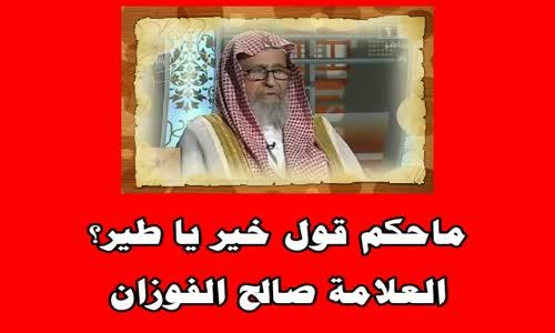 ماحكم قول خير يا طير؟ - الشيخ صالح الفوزان 