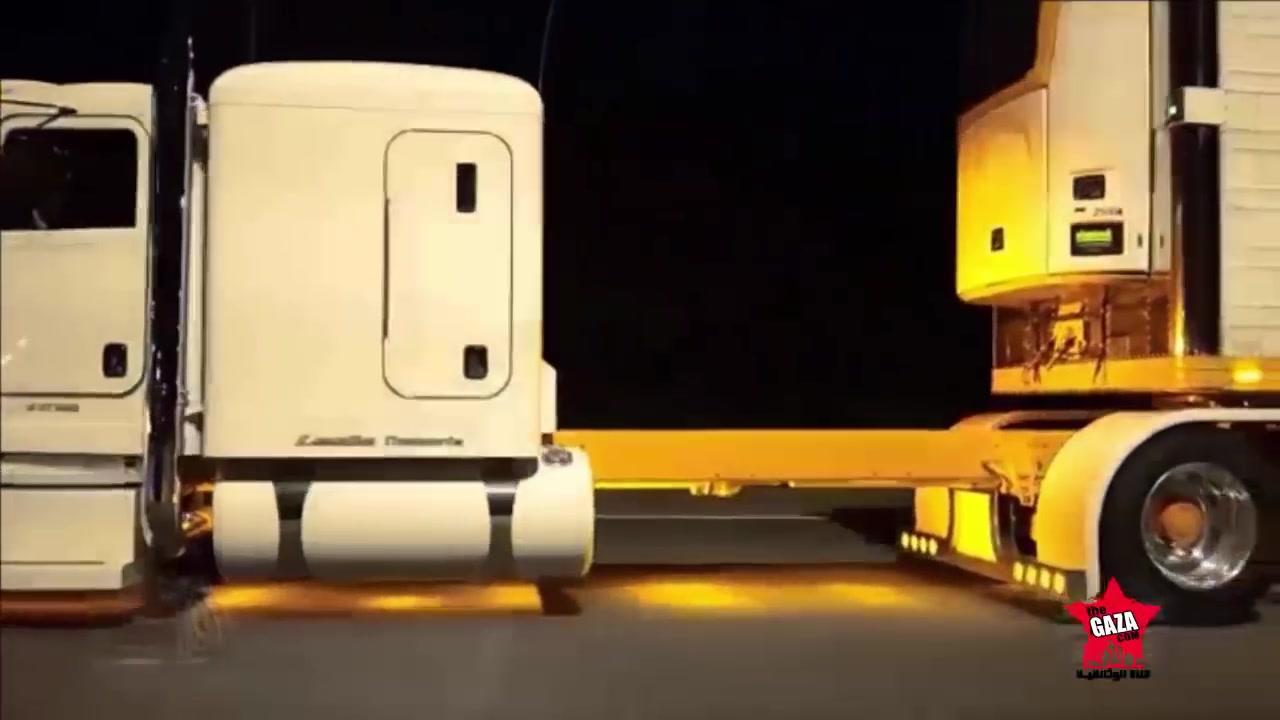 شاهد تصويرالشاحنة عند الفجر وكيف ترتفع وهيا تسير بسرعة
